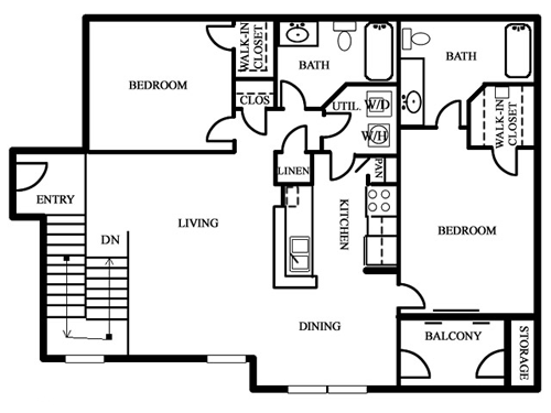 Two Bedroom / Two Bath - 990 Sq. Ft.*