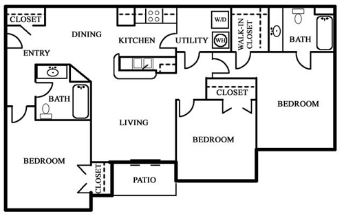 Three Bedroom / Two Bath - 1,174 Sq. Ft.*